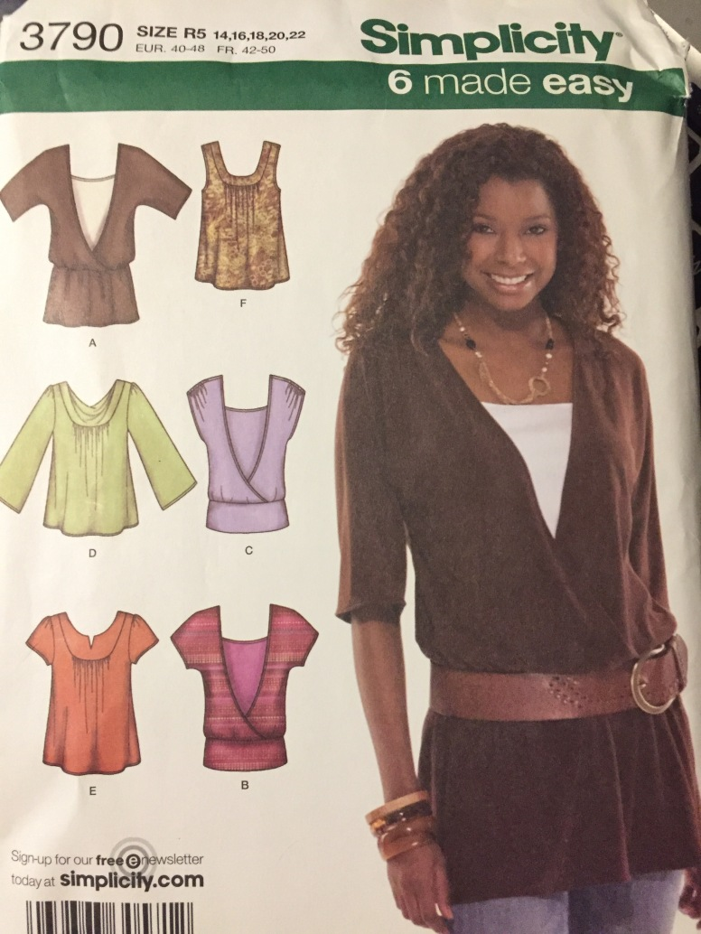 3c7dd1154 Misses  Plus Size Knit Tops Sewing Pattern Simplicity 3790 Bust 36-44  inches Size 14-22 Uncut Complete ...
