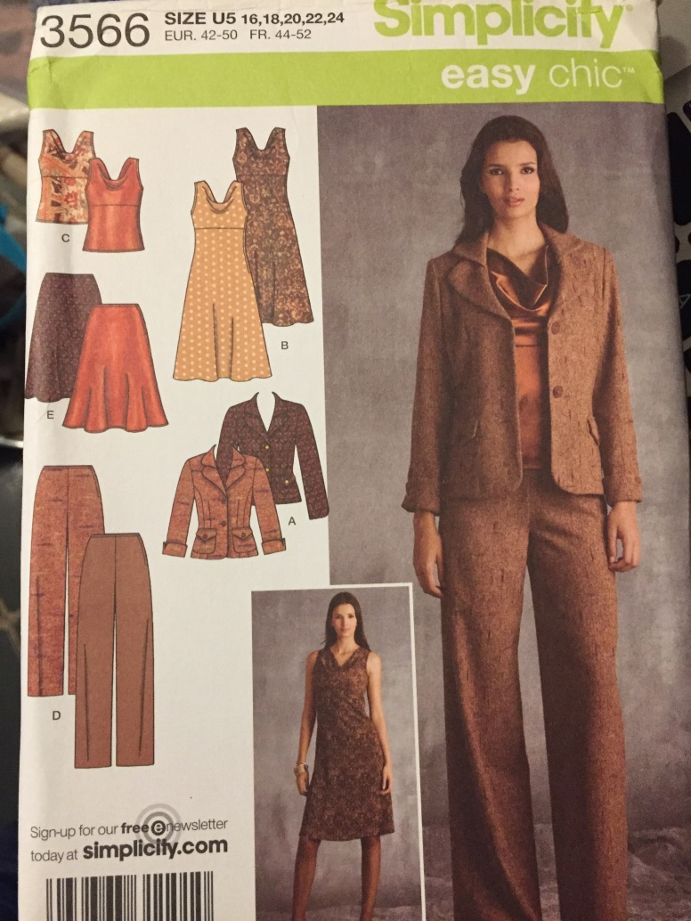 Misses' Full Figure Jacket, Pants, Skirt, and Dress Sewing Pattern Simplicity 3566 Bust 38-46 inches Uncut Complete Plus Size
